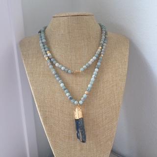 thehightowercollection_handmadejewelrynataliehightower_necklace_aquamarinebeadswithkyanitependant