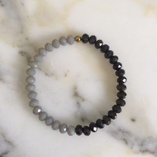 Black Crystal And Light Gray Bracelet